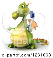 Clipart Of A 3d Green Dragon Holding A Toothbrush Royalty Free Illustration