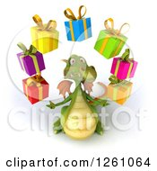 Clipart Of A 3d Green Dragon Juggling Gifts Royalty Free Illustration