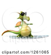 Clipart Of A 3d Green Dragon Wearing Sunglasses And Surfing Royalty Free Illustration