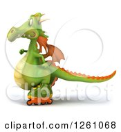 Clipart Of A 3d Green Dragon Roller Blading Royalty Free Illustration