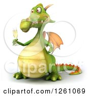 Clipart Of A 3d Green Dragon Holding Champagne Royalty Free Illustration