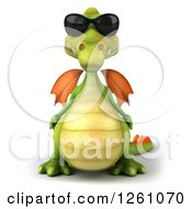 Clipart Of A 3d Green Dragon Wearing Sunglasses Royalty Free Illustration by Julos