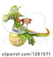 Clipart Of A 3d Green Dragon Flying With A Toothbrush Royalty Free Illustration