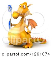 Clipart Of A 3d Yellow Dragon Holding A Toothbrush Royalty Free Illustration