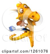 Clipart Of A 3d Yellow Dragon Holding A Toothbrush Around A Sign Royalty Free Illustration