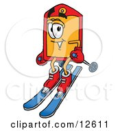 Clipart Picture Of A Price Tag Mascot Cartoon Character Skiing Downhill