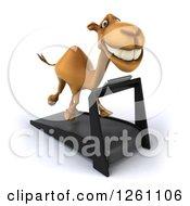 Clipart Of A 3d Camel Running On A Treadmill Royalty Free Illustration