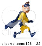 Clipart Of A 3d Caucasian Yellow And Blue Super Hero Man Running Royalty Free Illustration