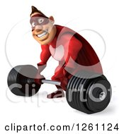 Clipart Of A 3d Caucasian Male Red Super Hero Lifting A Barbell Royalty Free Illustration