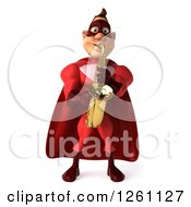 Clipart Of A 3d Caucasian Male Red Super Hero Playing A Saxophone Royalty Free Illustration