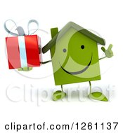 Clipart Of A 3d Happy Green House Character Holding Up A Finger And A Gift Royalty Free Illustration