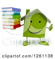3d Happy Green House Character Holding A Stack Of Books And A Thumb Up