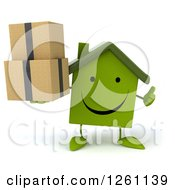 Clipart Of A 3d Happy Green House Character Holding Boxes And A Thumb Up Royalty Free Illustration by Julos