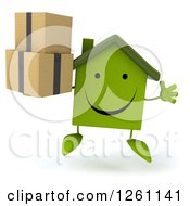 Clipart Of A 3d Happy Green House Character Jumping And Holding Boxes Royalty Free Illustration