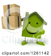 Clipart Of A 3d Happy Green House Character Holding And Pointing At Boxes Royalty Free Illustration