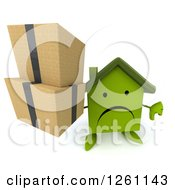 Clipart Of A 3d Sad Green House Character Holding Boxes And A Thumb Down Royalty Free Illustration