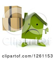 Clipart Of A 3d Unhappy Green House Character Holding Boxes And A Thumb Down Royalty Free Illustration