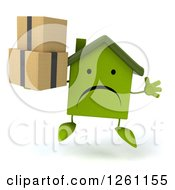Clipart Of A 3d Unhappy Green House Character Jumping With Boxes Royalty Free Illustration