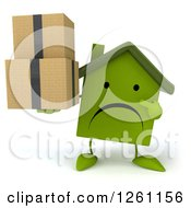 Clipart Of A 3d Unhappy Green House Character Holding Boxes Royalty Free Illustration