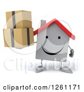 Clipart Of A 3d Happy White House Character Holding Boxes Royalty Free Illustration