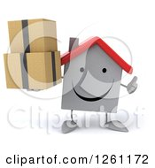 Clipart Of A 3d Happy White House Character Holding Boxes And A Thumb Up Royalty Free Illustration