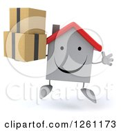Clipart Of A 3d Happy White House Character Jumping With Boxes Royalty Free Illustration