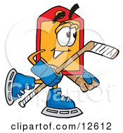 Clipart Picture Of A Price Tag Mascot Cartoon Character Playing Ice Hockey