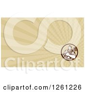 Clipart Of A Retro Wheat Farmer Business Card Design Royalty Free Illustration