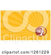 Clipart Of A Retro Woodcut Baker And Brick Oven Background Or Business Card Design Royalty Free Illustration