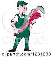 Clipart Of A Cartoon Plumber Holding A Monkey Wrench Royalty Free Vector Illustration