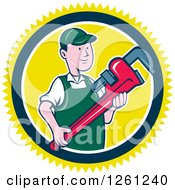 Clipart Of A Cartoon Plumber Holding A Monkey Wrench In A Yellow Blue And White Circle Royalty Free Vector Illustration