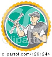 Retro Male Mechanic Holding A Socket Wrench And A Tire In A Circle