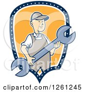 Clipart Of A Retro Cartoon Man Holding A Spanner Wrench In A Blue White And Yellow Shield Royalty Free Vector Illustration