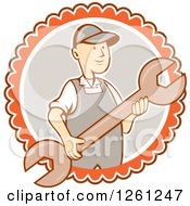 Clipart Of A Retro Cartoon Man Holding A Spanner Wrench In A White Gray And Orange Circle Royalty Free Vector Illustration