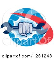 Clipart Of A Retro Cartoon Hand Breaking Through A Circle With A Spanner Wrench Royalty Free Vector Illustration