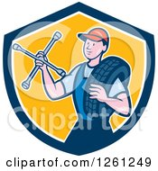 Clipart Of A Retro Male Mechanic Holding A Socket Wrench And A Tire In A Blue White And Yellow Shield Royalty Free Vector Illustration by patrimonio