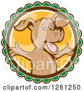 Clipart Of A Happy Cartoon Brown Dog With Open Arms On A Round Label Royalty Free Vector Illustration