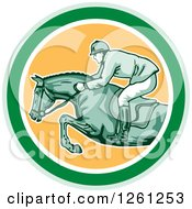 Clipart Of A Retro Male Jockey On A Leaping Horse In A Green White And Yellow Circle Royalty Free Vector Illustration