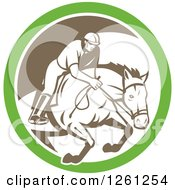 Clipart Of A Retro Male Jockey On A Leaping Horse In A Green White And Brown Circle Royalty Free Vector Illustration