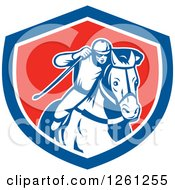 Clipart Of A Retro Male Jockey Racing A Horse In A Blue White And Red Shield Royalty Free Vector Illustration