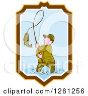 Clipart Of A Cartoon Wading Fisherman Reeling In A Fish In A Yellow Brown White And Blue Shield Royalty Free Vector Illustration by patrimonio