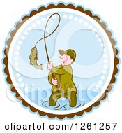 Clipart Of A Cartoon Wading Fisherman Reeling In A Fish In A Brown White And Blue Circle Royalty Free Vector Illustration