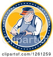 Clipart Of A Retro Cartoon Shoemaker Working In A Yellow Blue And White Circle Royalty Free Vector Illustration by patrimonio