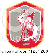 Retro Woodcut Blacksmith Hammering In A Yellow Red White And Taupe Shield