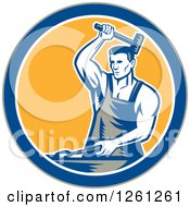 Clipart Of A Retro Woodcut Blacksmith Hammering In A Gray Blue White And Yellow Circle Royalty Free Vector Illustration