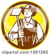 Clipart Of A Retro Male Farmer Holding A Hoe In A Yellow Brown And White Circle Royalty Free Vector Illustration