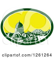 Clipart Of A Retro Woodcut Scene Of The Great Synagogue Of Florence Or Tempio Maggiore In Firenze Italy Royalty Free Vector Illustration