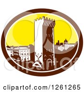 Clipart Of A Retro Woodcut Scene Of The Tower Of San Niccolo In Florence  Firenze Italy Royalty Free Vector Illustration