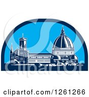 Clipart Of A Woodcut Scene Of The Dome Of Florence Cathedral Or Il Duomo In Piazza Del Duomo Firenze Italy Royalty Free Vector Illustration