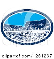 Clipart Of A Woodcut Oval Of The Flavian Amphitheatre Coliseum In Rome Italy Royalty Free Vector Illustration